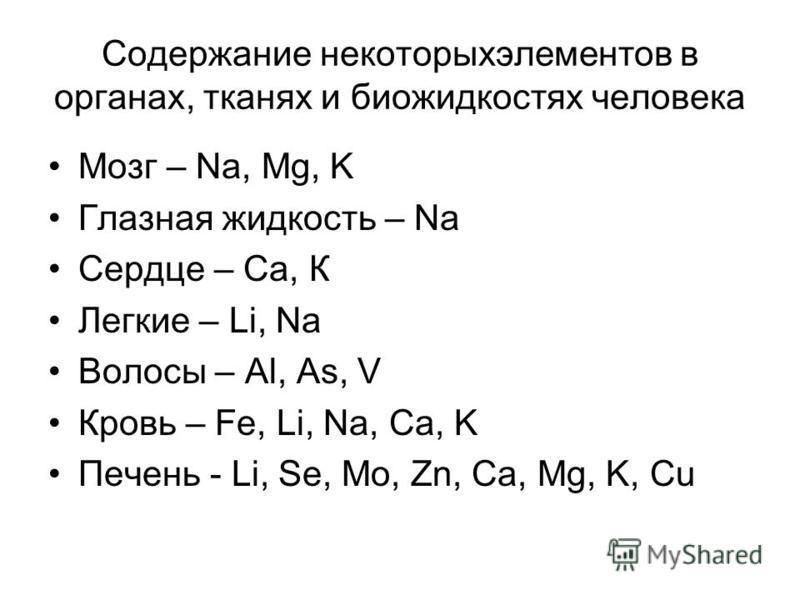 Содержание некоторых элементов в органах, тканях и биожидкостях человека Мозг – Na, Mg, K Глазная жидкость – Na Сердце – Са, К Легкие – Li, Na Волосы – Al, As, V Кровь – Fe, Li, Na, Ca, K Печень - Li, Se, Mo, Zn, Ca, Mg, K, Cu