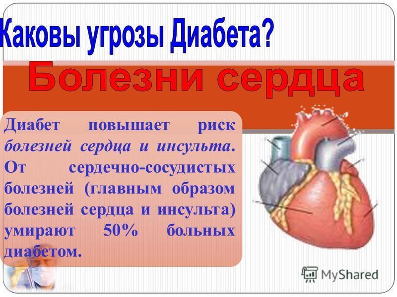 Диабет повышает риск болезней сердца и инсульта. От сердечно-сосудистых болезней (главным образом болезней сердца и инсульта) умирают 50% больных диабетом.