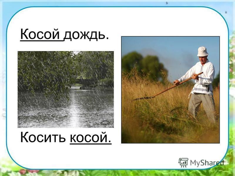 Косой дождь. Косить косой.