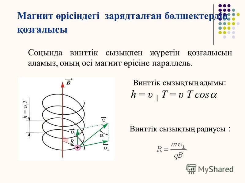 Магнит өрісіндегі зарядталған бөлшектердің қозғалысы 3. Зарядталған бөлшектер магнит индукция сына α бұрышымен қозғалады. Онда бөлшектің ортақ қозғалысын қосындысы ретінде алуға болады: 1)Бірқалыпты түзусызықты қозғалыс, жылдамдығы: υ || = υ cosa; 2)