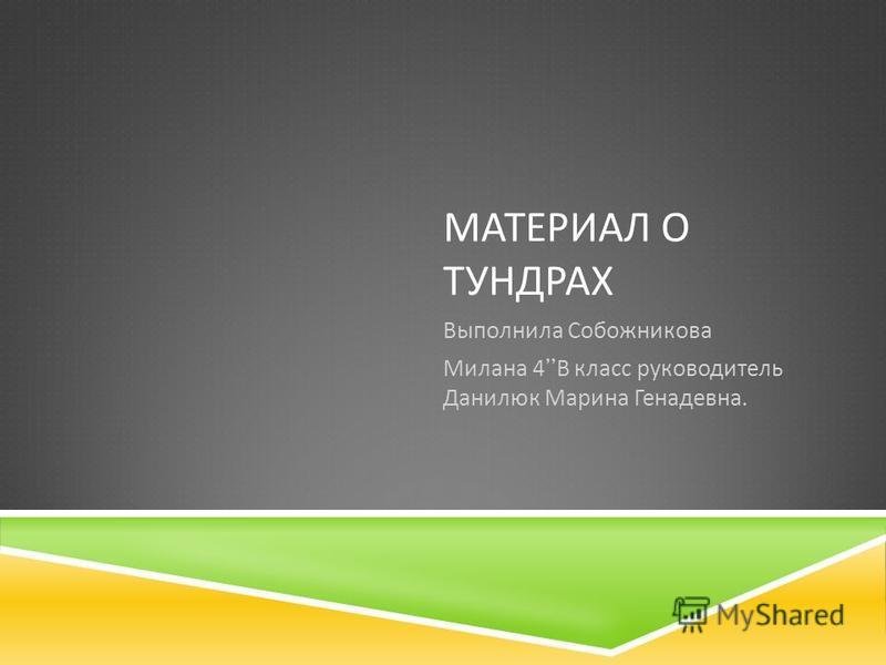 МАТЕРИАЛ О ТУНДРАХ Выполнила Собожникова Милана 4 В класс руководитель Данилюк Марина Генадевна.