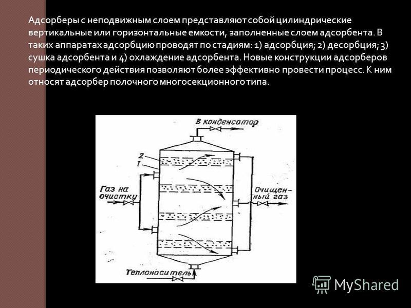 Адсорберы с неподвижным слоем представляют собой цилиндрические вертикальные или горизонтальные емкости, заполненные слоем адсорбента. В таких аппаратах адсорбцию проводят по стадиям : 1) адсорбция ; 2) десорбция ; 3) сушка адсорбента и 4) охлаждение