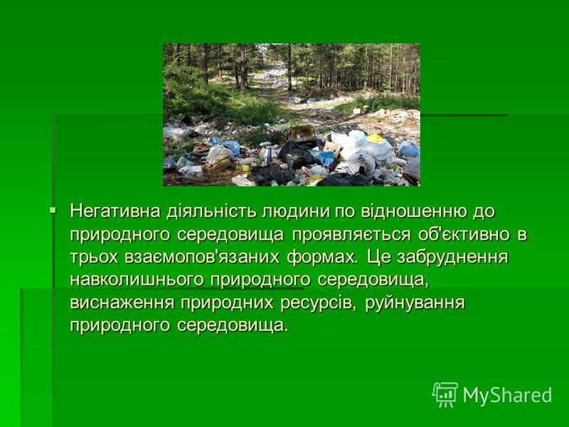 Негативна діяльність людини по відношенню до природного середовища проявляється об'єктивно в трьох взаємопов'язаних формах. Це забруднення навколишнього природного середовища, виснаження природних ресурсів, руйнування природного середовища. Негативна