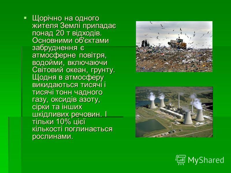 Щорічно на одного жителя Землі припадає понад 20 т відходів. Основними об'єктами забруднення є атмосферне повітря, водойми, включаючи Світовий океан, грунту. Щодня в атмосферу викидаються тисячі і тисячі тонн чадного газу, оксидів азоту, сірки та інш