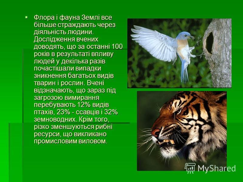 Флора і фауна Землі все більше страждають через діяльність людини. Дослідження вчених доводять, що за останні 100 років в результаті впливу людей у декілька разів почастішали випадки зникнення багатьох видів тварин і рослин. Вчені відзначають, що зар