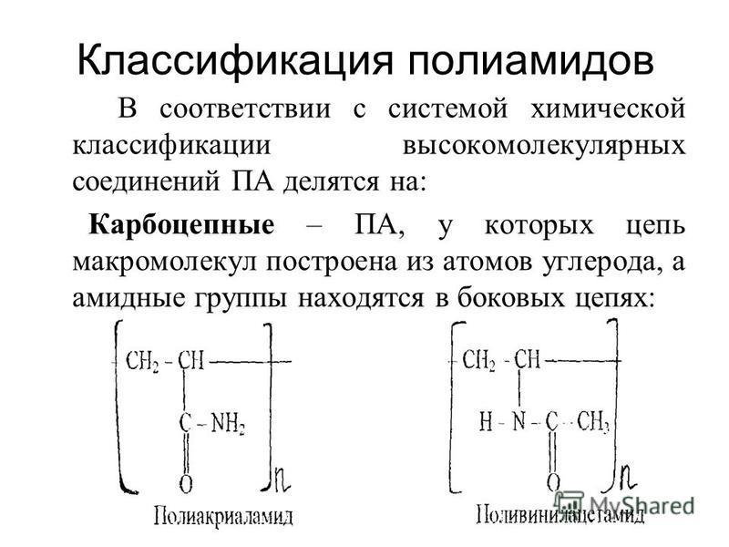Классификация полиамидов В соответствии с системой химической классификации высокомолекулярных соединений ПА делятся на: Карбоцепные – ПА, у которых цепь макромолекул построена из атомов углерода, а амидные группы находятся в боковых цепях: