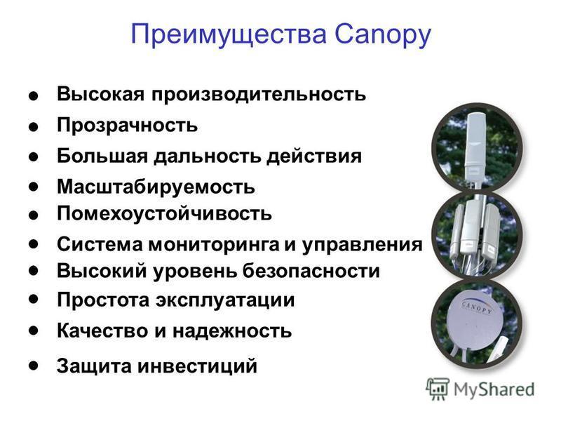Преимущества Canopy Высокая производительность Прозрачность Большая дальность действия Масштабируемость Помехоустойчивость Система мониторинга и управления Простота эксплуатации Качество и надежность Защита инвестиций Высокий уровень безопасности
