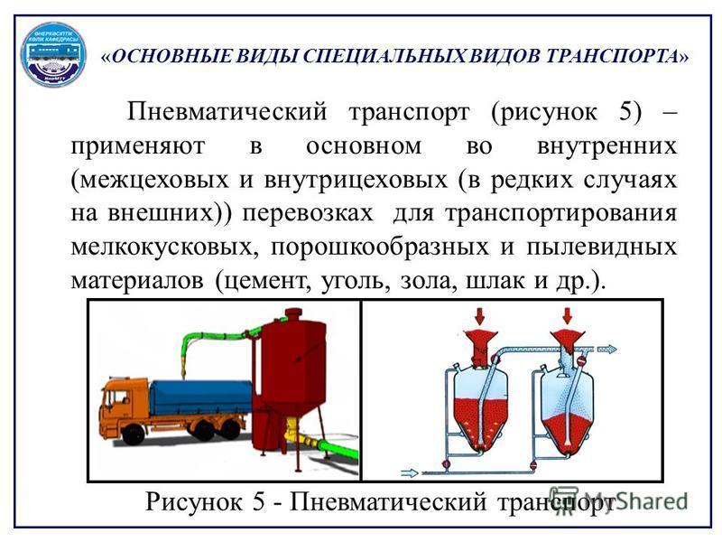 «ОСНОВНЫЕ ВИДЫ СПЕЦИАЛЬНЫХ ВИДОВ ТРАНСПОРТА» Пневматический транспорт (рисунок 5) – применяют в основном во внутренних (межцеховых и внутрицеховых (в редких случаях на внешних)) перевозках для транспортирования мелкокусковых, порошкообразных и пылеви