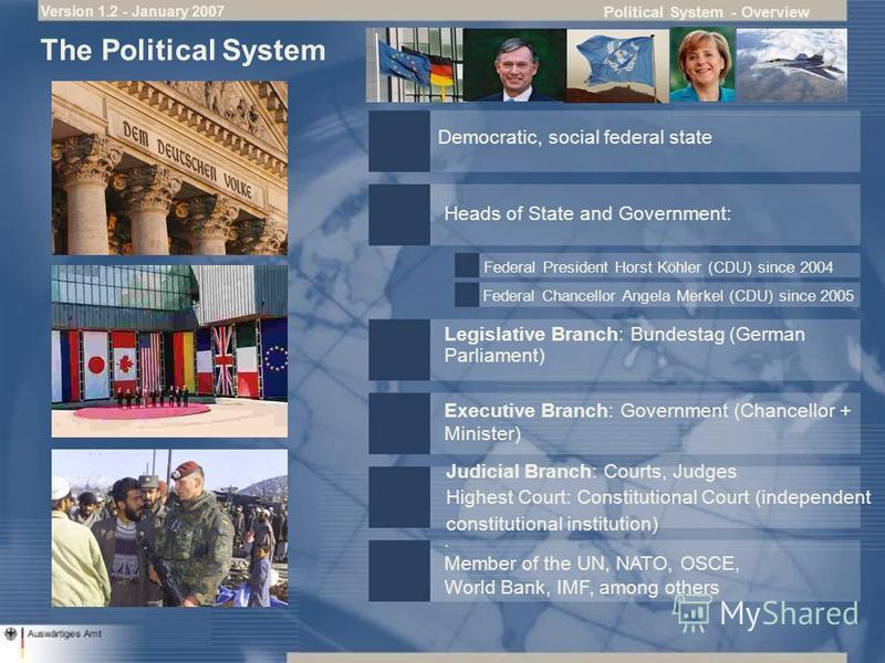 Political System - Overview The Political System Judicial Branch: Courts, Judges Highest Court: Constitutional Court (independent constitutional institution) Democratic, social federal state Heads of State and Government: Legislative Branch: Bundesta
