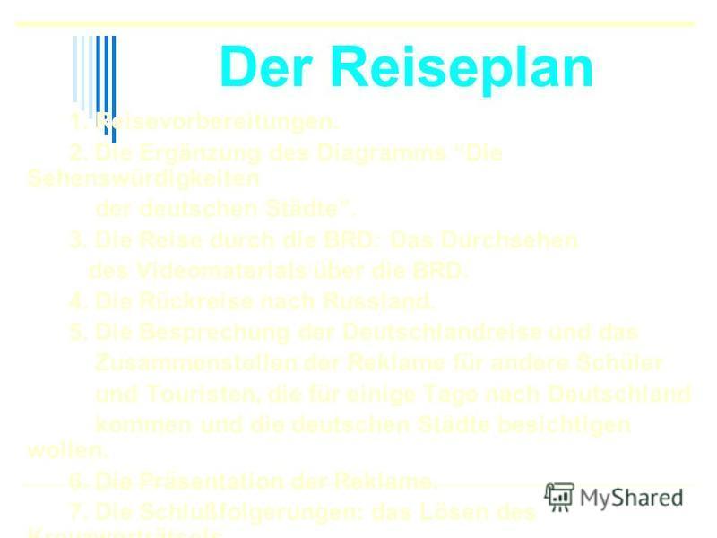 Der Reiseplan 1. Reisevorbereitungen. 2. Die Ergänzung des Diagramms Die Sehenswürdigkeiten der deutschen Städte. 3. Die Reise durch die BRD: Das Durchsehen des Videomaterials über die BRD. 4. Die Rückreise nach Russland. 5. Die Besprechung der Deuts