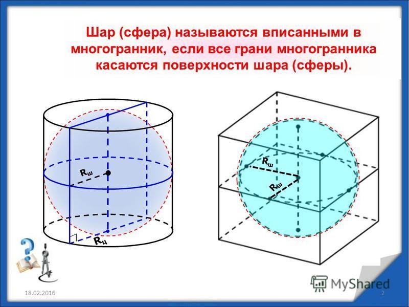 18.02.20162 Шар (сфера) называются вписанными в многогранник, если все грани многогранника касаются поверхности шара (сферы). RшRш RцRц RшRш RшRш
