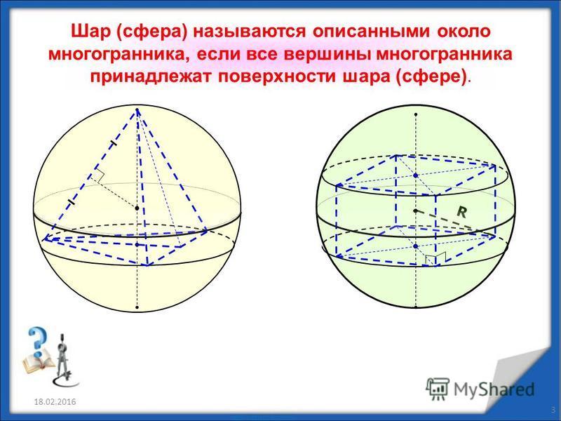 18.02.2016 3 Шар (сфера) называются описанными около многогранника, если все вершины многогранника принадлежат поверхности шара (сфере). R