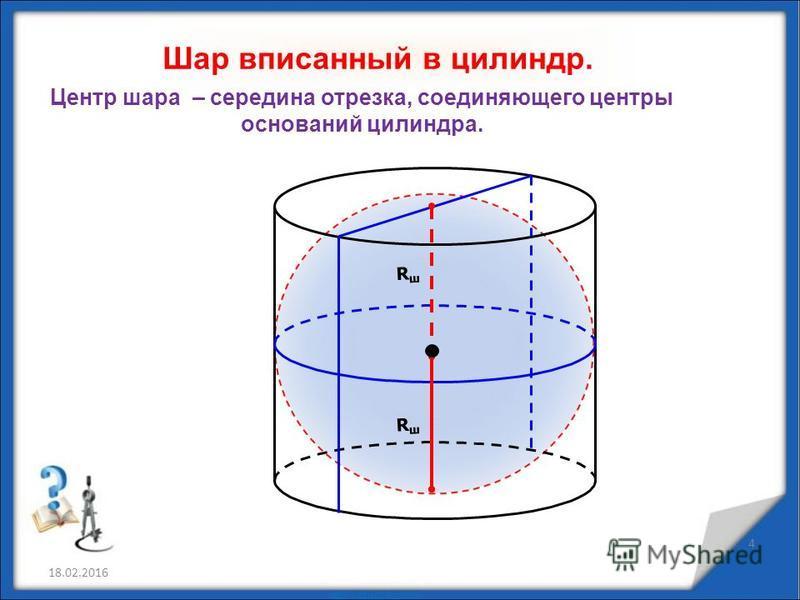 Шар вписанный в цилиндр. 18.02.2016 4 Центр шара – середина отрезка, соединяющего центры оснований цилиндра. RшRш RшRш