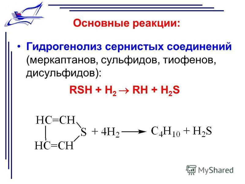 Основные реакции: Гидрогенолиз сернистых соединений (меркаптанов, сульфидов, тиофенов, дисульфидов): RSH + H 2 RH + H 2 S