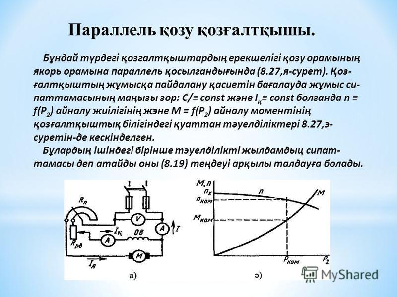 Параллель қозу қозғалтқышы. Бұндай түрдегі қозгалтқыштардың ерекшелігі қозу орамының якорь орамына параллель қосылгандығында (8.27,я-сурет). Қоз- ғалтқыштың жұмысқа пайдалану қасиетін бағалауда жұмыс си- паттамасының маңызы зор: С/= const жэне I қ =
