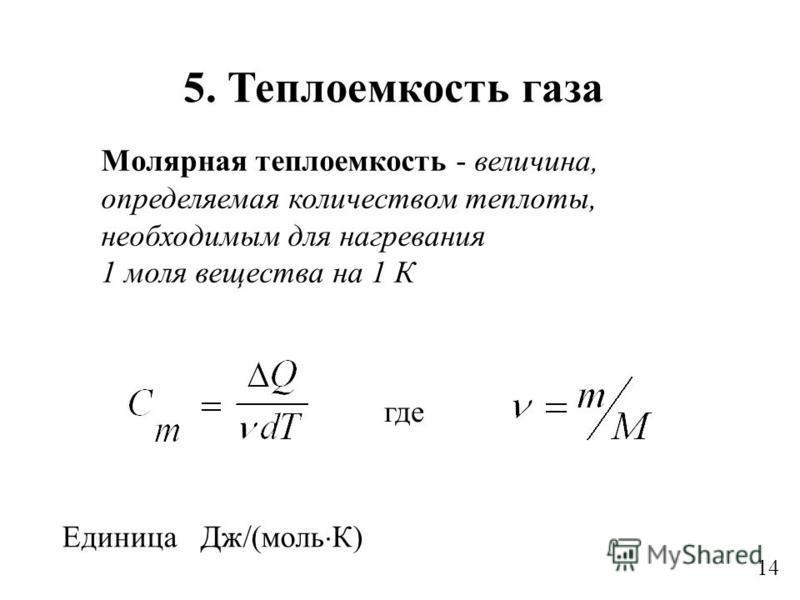 14 где Молярная теплоемкость - величина, определяемая количеством теплоты, необходимым для нагревания 1 моля вещества на 1 К Единица Дж/(моль К) 5. Теплоемкость газа