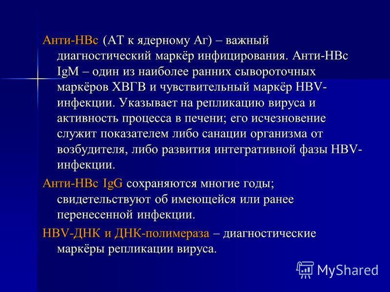 Анти-HBc (АТ к ядерному Аг) – важный диагностический маркёр инфицирования. Анти-HBc IgM – один из наиболее ранних сывороточных маркёров ХВГВ и чувствительный маркёр HBV- инфекции. Указывает на репликацию вируса и активность процесса в печени; его исч