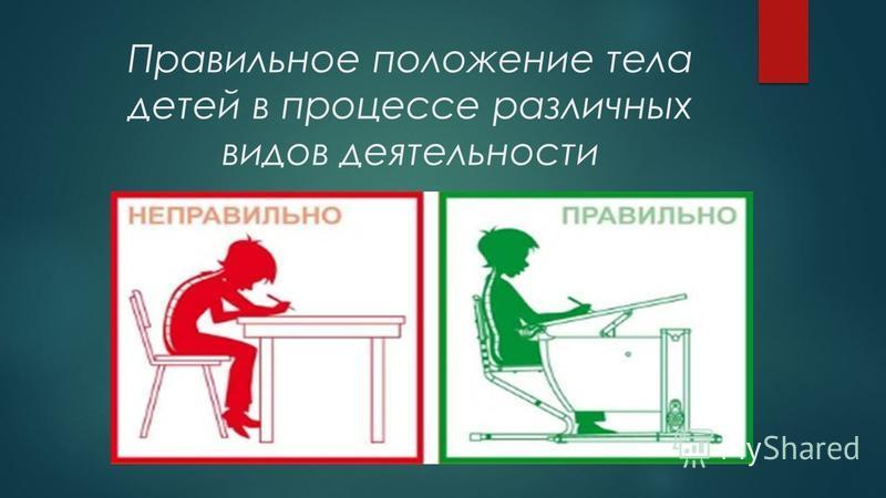 Правильное положение тела детей в процессе различных видов деятельности