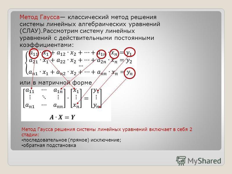 Метод Гаусса классический метод решения системы линейных алгебраических уравнений (СЛАУ).Рассмотрим систему линейных уравнений с действительными постоянными коэффициентами: или в матричной форме Метод Гаусса решения системы линейных уравнений включае