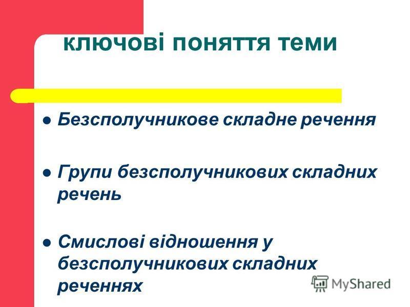 ключові поняття теми Безсполучникове складне речення Групи безсполучникових складних речень Смислові відношення у безсполучникових складних реченнях