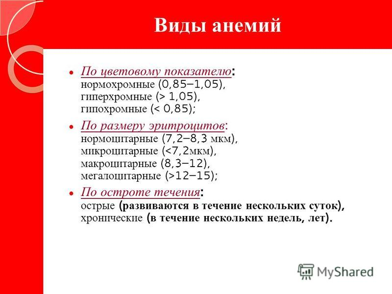 Виды анемий По цветовому показателю : нормохромные (0,85–1,05), гиперхромные (> 1,05), гипохромные (< 0,85); По размеру эритроцитов : нормоцитарные (7,2–8,3 мкм ), микроцитарные ( 12–15); По остроте течения : острые ( развиваются в течение нескольких