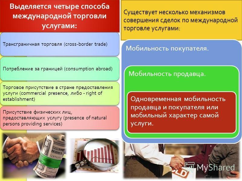 Выделяется четыре способа международной торговли услугами : Трансграничная торговля (cross-border trade) Потребление за границей (consumption abroad) Торговое присутствие в стране предоставления услуги (commercial presence, либо - right of establishm