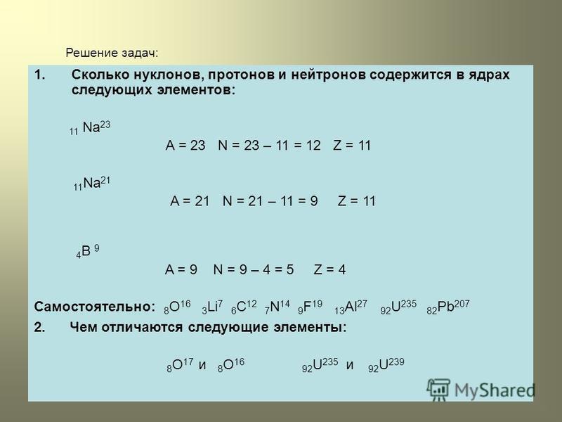 Решение задач: 1. Сколько нуклонов, протонов и нейтронов содержится в ядрах следующих элементов: 11 Na 23 A = 23 N = 23 – 11 = 12 Z = 11 11 Na 21 A = 21 N = 21 – 11 = 9 Z = 11 4 B 9 A = 9 N = 9 – 4 = 5 Z = 4 Самостоятельно: 8 O 16 3 Li 7 6 C 12 7 N 1
