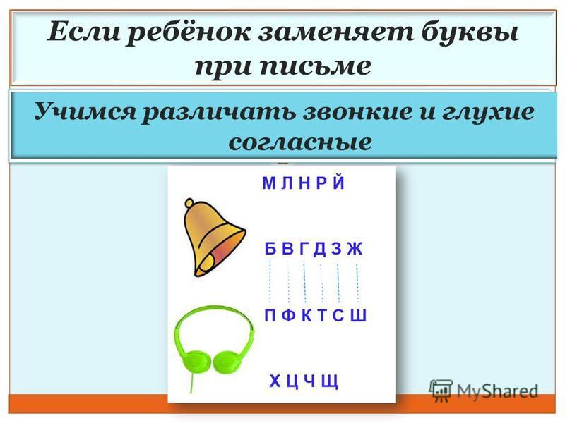 Если ребёнок заменяет буквы при письме Учимся различать звонкие и глухие согласные