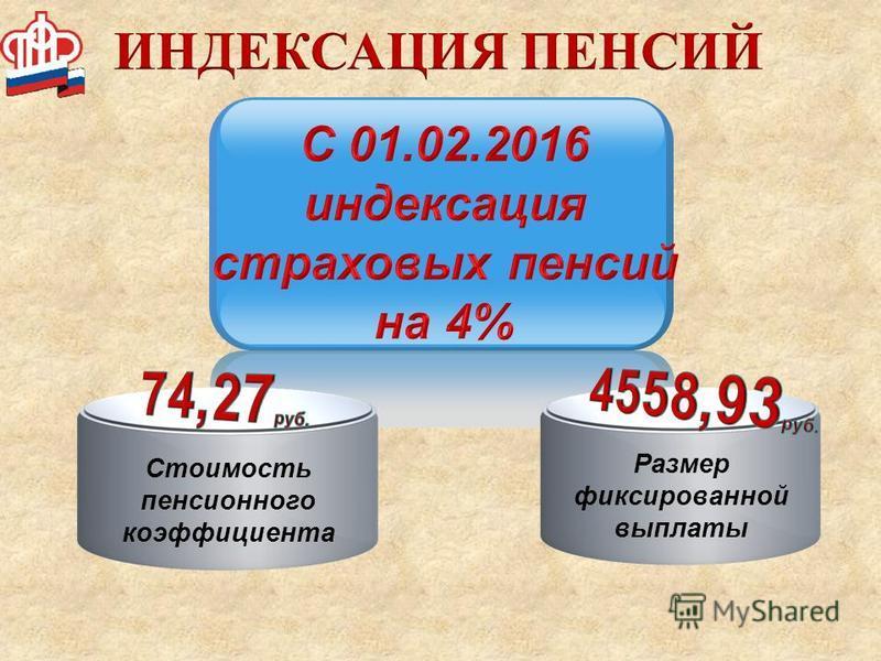 Стоимость пенсионного коэффициента Размер фиксированной выплаты