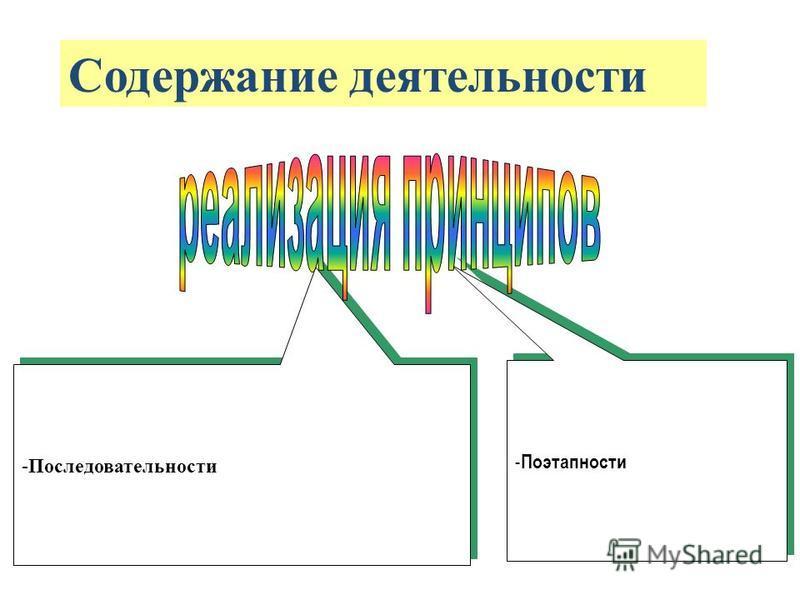 -Последовательности - Поэтапности Содержание деятельности