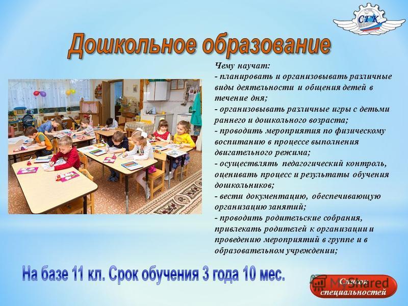 Чему научат: - планировать и организовывать различные виды деятельности и общения детей в течение дня; - организовывать различные игры с детьми раннего и дошкольного возраста; - проводить мероприятия по физическому воспитанию в процессе выполнения дв