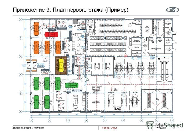 Приложение 3: План первого этажа (Пример) 19.02.2016 Заявка кандидата / Компания 14 Город / Округ