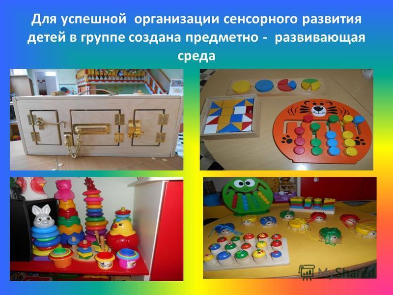 Для успешной организации сенсорного развития детей в группе создана предметно - развивающая среда