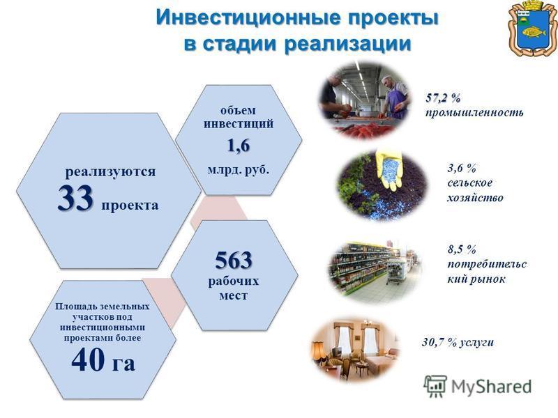 Инвестиционные проекты в стадии реализации 33 реализуются 33 проекта объем инвестиций 1,6 млрд. руб. 563 563 рабочих мест Площадь земельных участков под инвестиционными проектами более 40 га 57,2 % 57,2 % промышленность 3,6 % сельское хозяйство 8,5 %