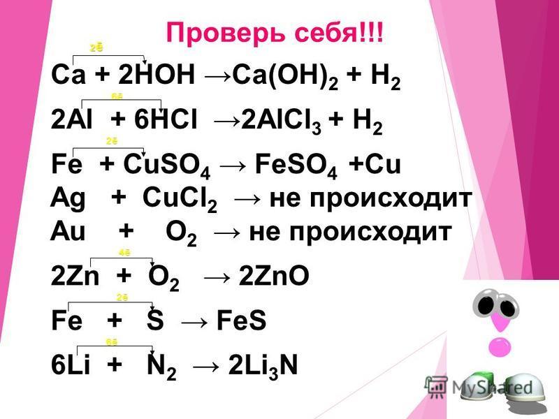 1. Ca + HOH Ca + HOH 2. Al + HCl Al + HCl 3. Hg + HCl Hg + HCl 4. Fe + CuSO 4 Fe + CuSO 4 5. Au + O 2. Au + O 2 6. Zn + O 2 7. Fe + S 8. Li + N 2 Допишите практически осуществимые реакции: