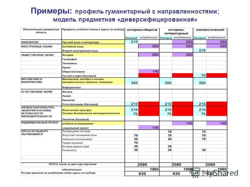 Примеры: профиль гуманитарный с направленностями; модель предметная «диверсифицированная»