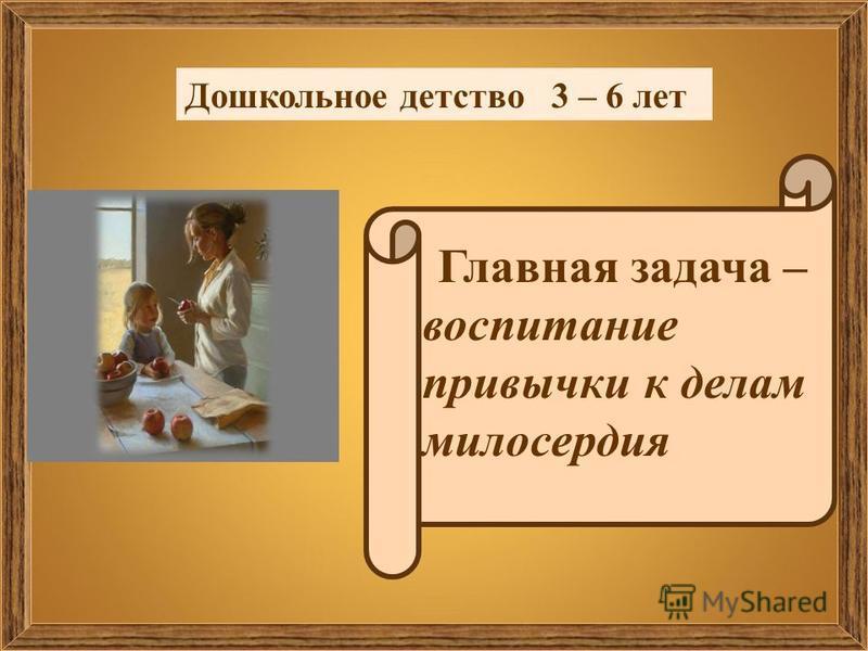 Дошкольное детство 3 – 6 лет Главная задача – воспитание привычки к делам милосердия