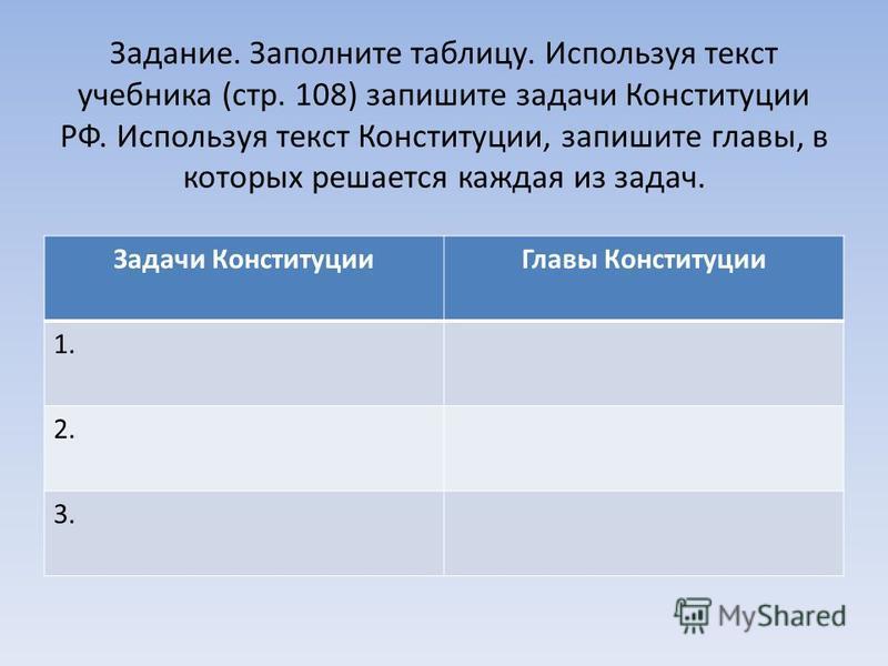 Задание. Заполните таблицу. Используя текст учебника (стр. 108) запишите задачи Конституции РФ. Используя текст Конституции, запишите главы, в которых решается каждая из задач. Задачи Конституции Главы Конституции 1. 2. 3.