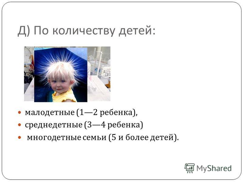 Д ) По количеству детей : малодетные (12 ребенка ), среднедетные (34 ребенка ) многодетные семьи (5 и более детей ).