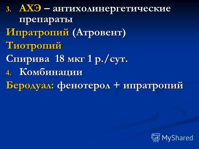 3. АХЭ – антихолинергетические препараты Ипратропий (Атровент) Тиотропий Спирива 18 мкг 1 р./сут. 4. Комбинации Беродуал: фенотерол + ипратропий