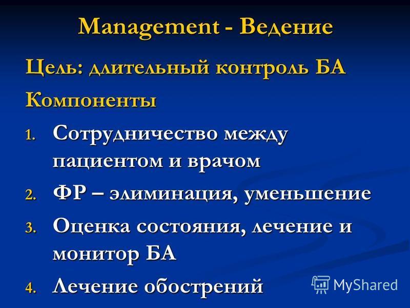 Management - Ведение Цель: длительный контроль БА Компоненты 1. Сотрудничество между пациентом и врачом 2. ФР – элиминация, уменьшение 3. Оценка состояния, лечение и монитор БА 4. Лечение обострений