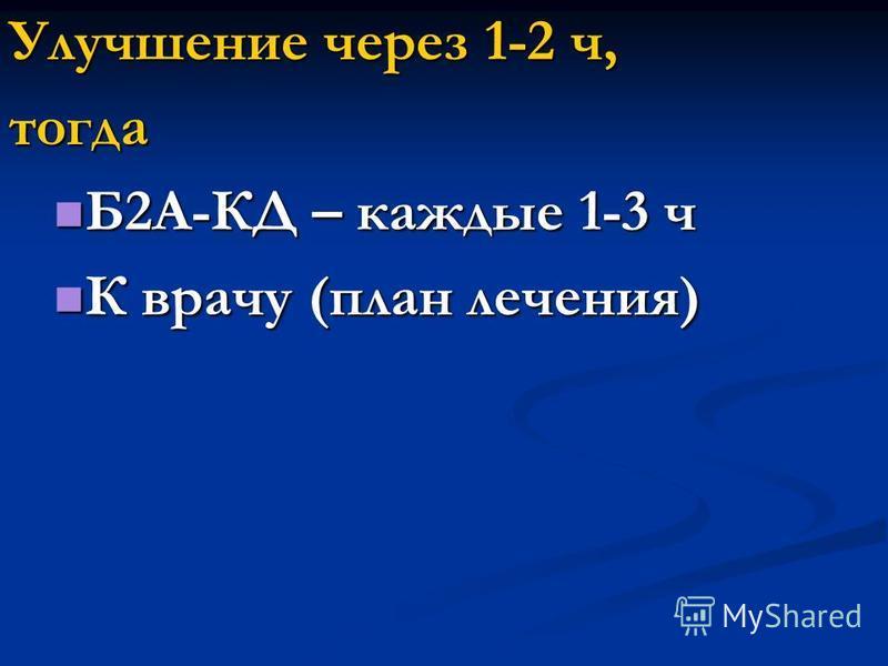 Улучшение через 1-2 ч, тогда Б2А-КД – каждые 1-3 ч Б2А-КД – каждые 1-3 ч К врачу (план лечения) К врачу (план лечения)