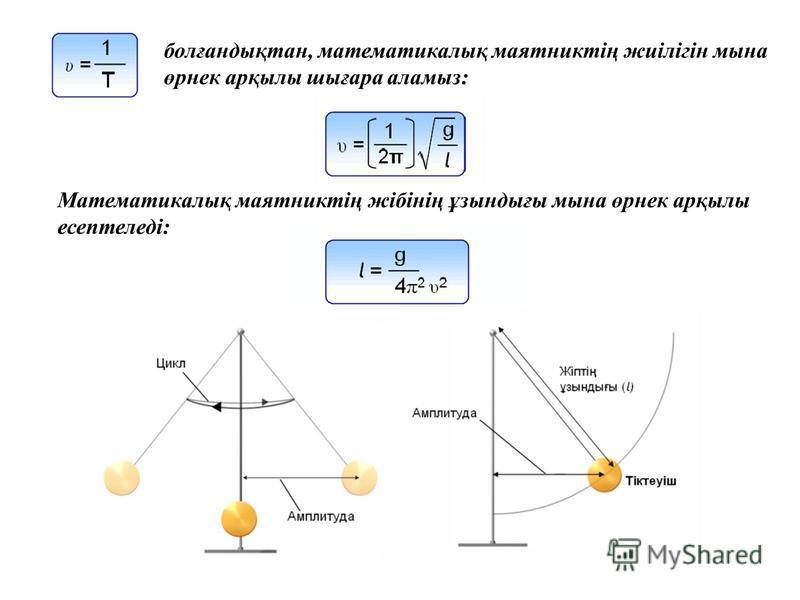 Математикалық маятниктің жібінің ұзындығы мына өрнек арқылы есептеледі: болғандықтан, математикалық маятниктің жиілігін мына өрнек арқылы шығара аламыз: