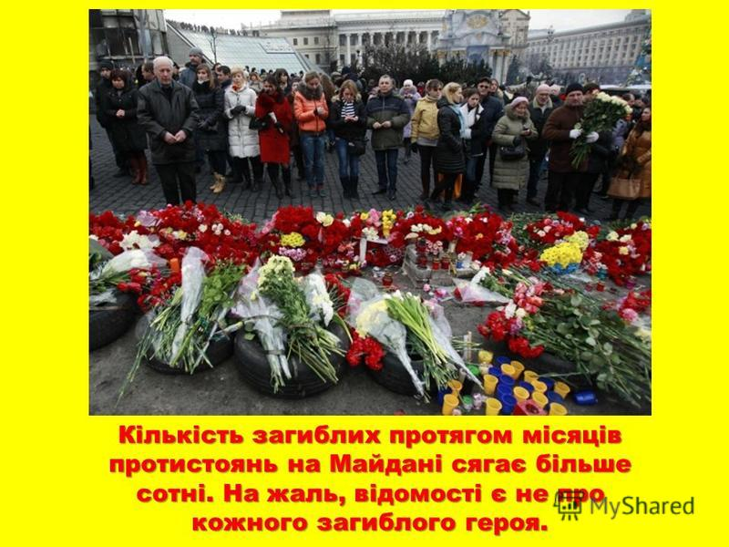 Кількість загиблих протягом місяців протистоянь на Майдані сягає більше сотні. На жаль, відомості є не про кожного загиблого героя.