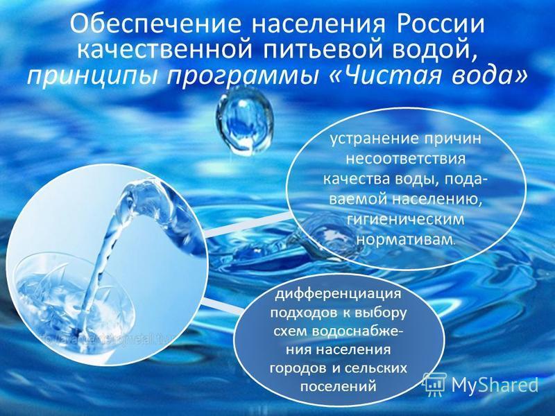 Обеспечение населения России качественной питьевой водой, принципы программы «Чистая вода» устранение причин несоответствия качества воды, подаваемой населению, гигиеническим нормативам. дифференциация подходов к выбору схем водоснабжения населения г