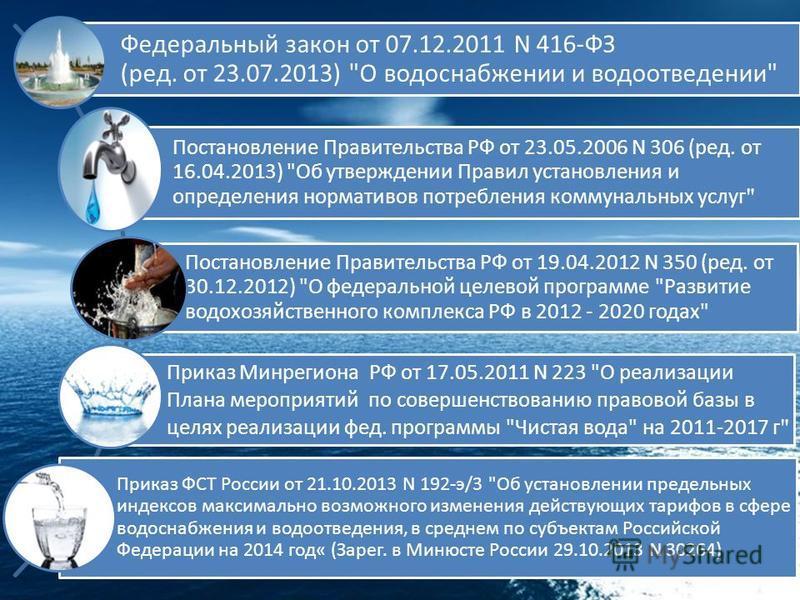 Федеральный закон от 07.12.2011 N 416-ФЗ (ред. от 23.07.2013)