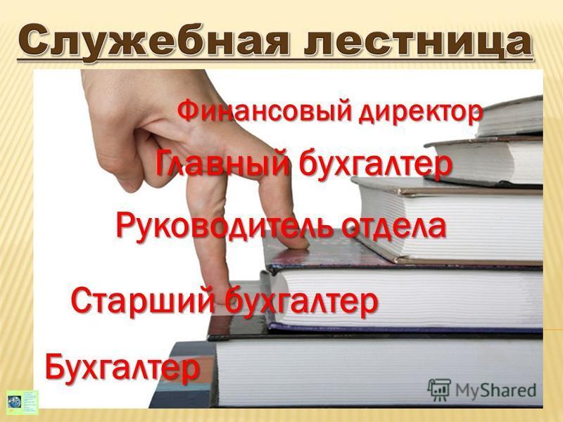 Бухгалтер Старший бухгалтер Руководитель отдела Главный бухгалтер Финансовый директор