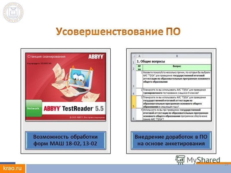 krao.ru 29 Возможность обработки форм МАШ 18-02, 13-02 Внедрение доработок в ПО на основе анкетирования