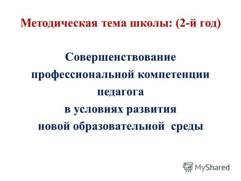 Методическая тема школы: (2-й год) Совершенствование профессиональной компетенции педагога в условиях развития новой образовательной среды