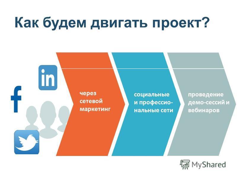 Как будем двигать проект? через сетевой маркетинг социальные и профессиональные сети проведение демо-сессий и вебинаров